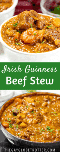 Two pictures of stew with text overlay.