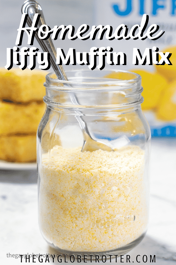 Jiffy corn muffin mix in a jar with text overlay.