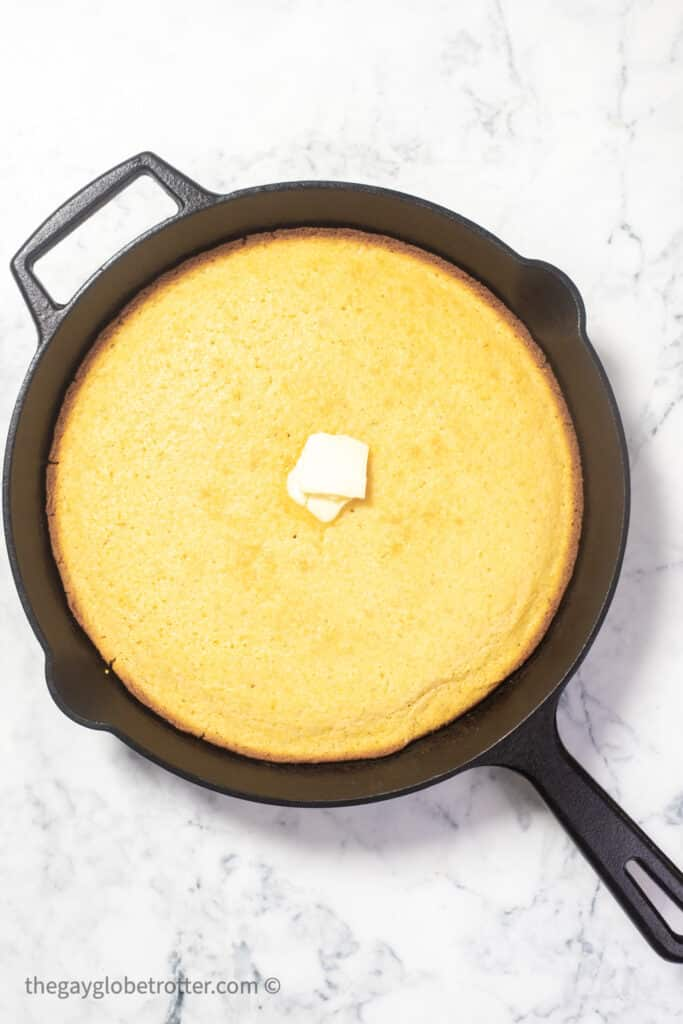 Skillet cornbread in a cast iron pan.