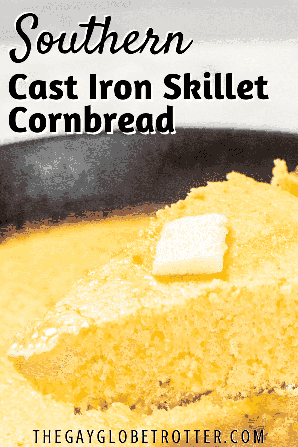 Skillet cornbread topped with butter on a spatula with text overlay.