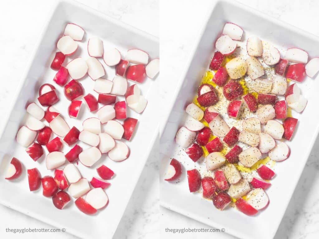 Radishes in a baking dish being prepared with oil and spices.