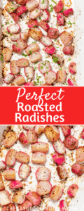 Roasted radishes in a pan with text overlay.