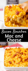 Two images of bacon bourbon mac and cheese with text overlay.
