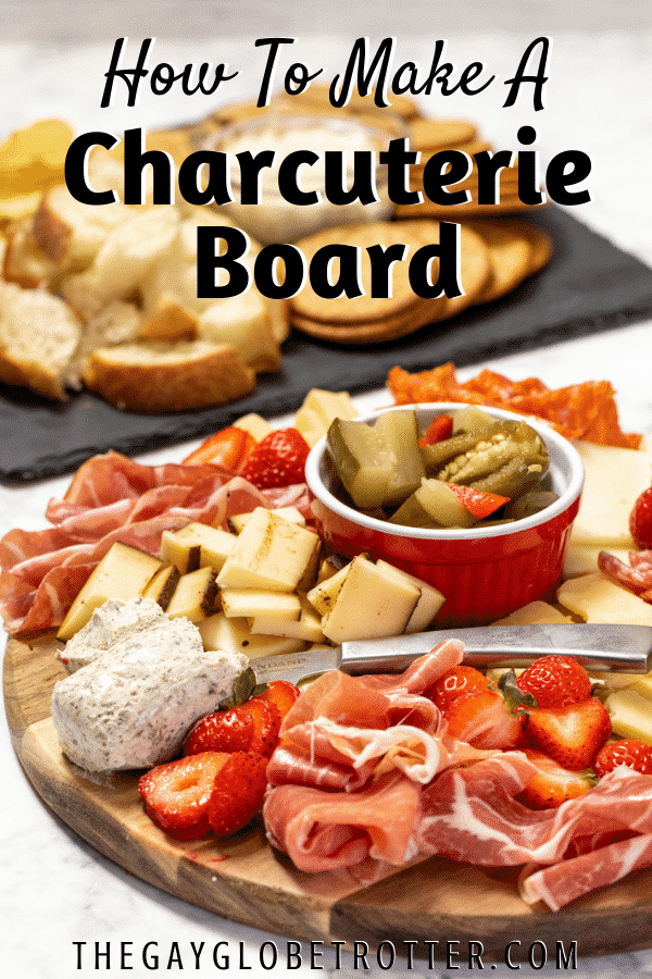 A charcuterie board filled with fresh meat and cheese, with text overlay.