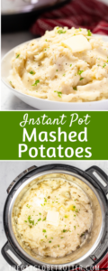 Two images of garlic mashed potatoes with text overlay.