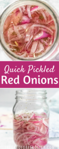 Two images of quick pickled red onions with text overlay.
