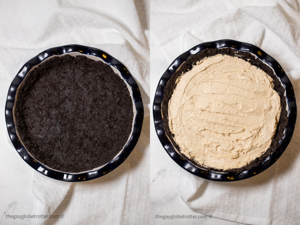Oreo crust and peanut butter cheesecake filling in a pie plate.