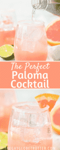Two images of paloma cocktails with text overlay.