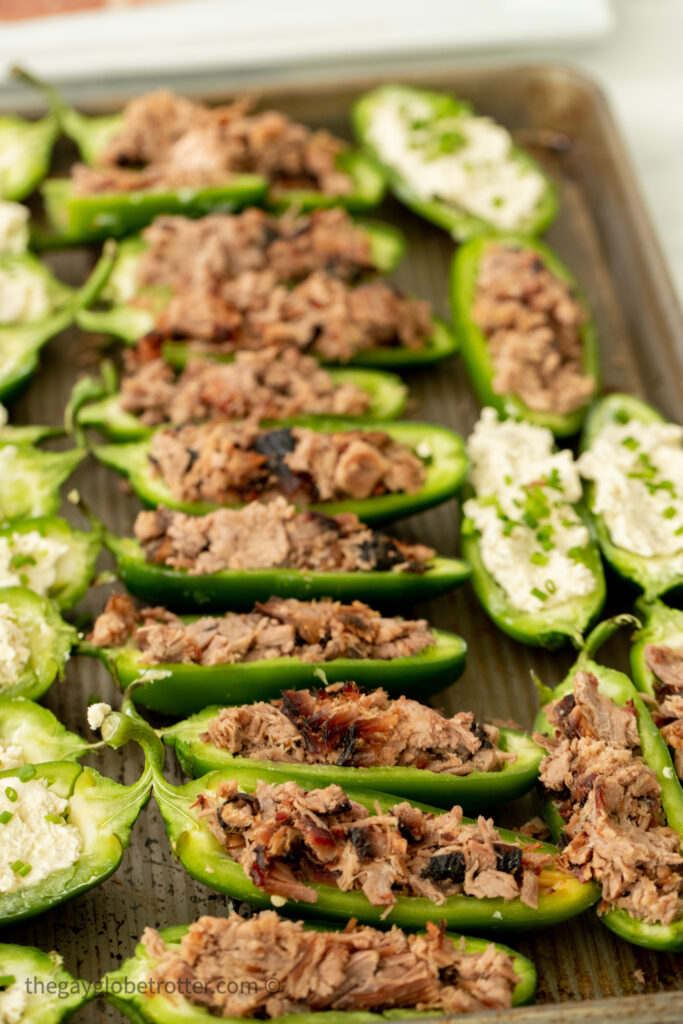 Jalapenos filled with brisket and cream cheese.