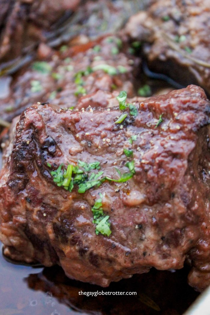 Short ribs braised with red wine.