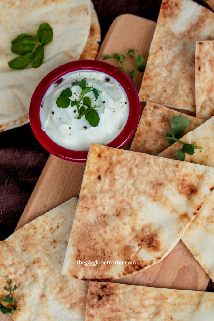 Homemade Greek pita bread is one of my favorite snacks!