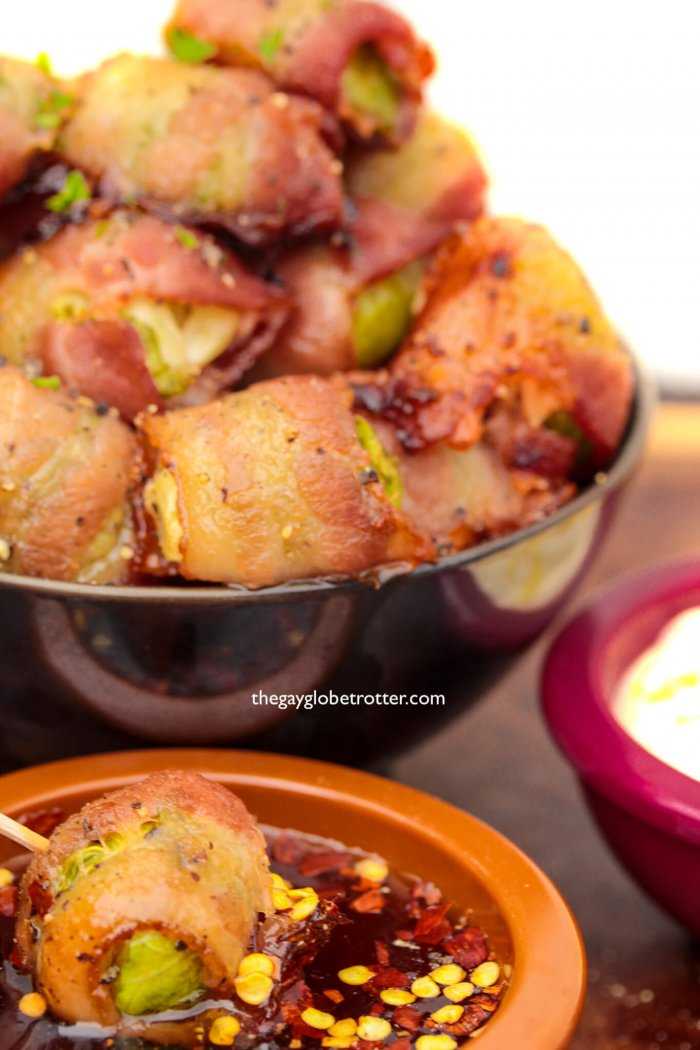 Crispy oven baked bacon wrapped brussel sprouts.
